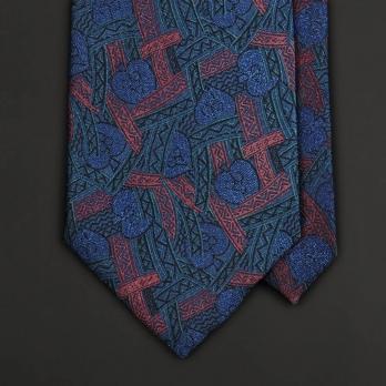 Винтажный галстук с абстрактным орнаментом в синих и красно-бордовых тонах