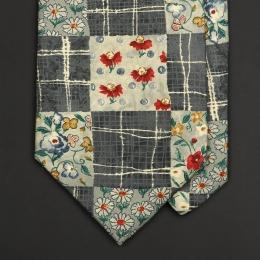 Винтажный галстук Kenzo с цветочно-клетчатым рисунком в стиле пэчворк