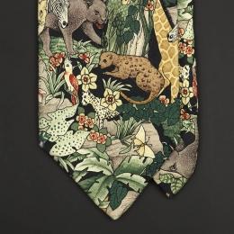 Винтажный шелковый галстук с рисунком Джунгли