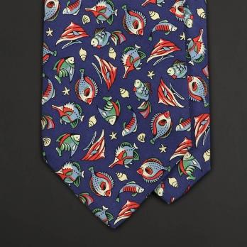 Винтажный шелковый галстук с рисунком Океан от ALAIN FIGARET
