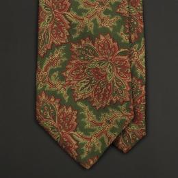 Винтажный шёлковый галстук с растительным узором в зеленых и бордовых тонах