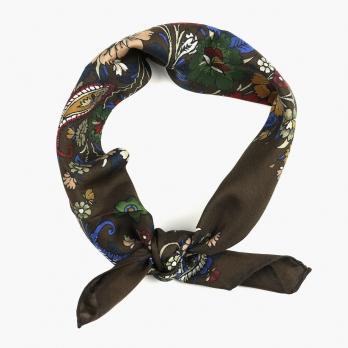 Темно-коричневый шейный платок с цветочным рисунком из хлопка и шёлка FUMAGALLI 1891