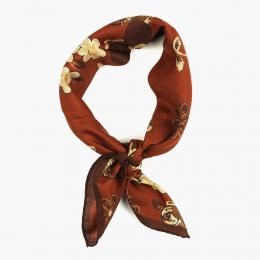 Коричневый шейный платок с цветочным рисунком из хлопка и шёлка FUMAGALLI 1891