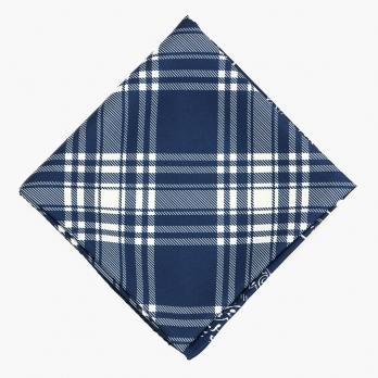 Синий мужской шейный платок из шелка в клетку UMBERTO FORNARI