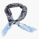 Хлопковый шейный платок с растительным орнаментом в синих тонах UMBERTO FORNARI