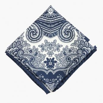 Синий мужской шейный платок с классическим орнаментом UMBERTO FORNARI