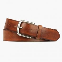 Коричневый кожаный ремень IKKY с серебристой пряжкой