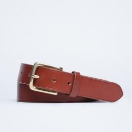 Кожаный ремень с латунной пряжкой FOUR-IN-HAND