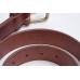 Коричневый кожаный ремень с латунной пряжкой FOUR-IN-HAND