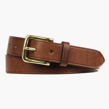 Коричневый кожаный ремень с латунной пряжкой FOUR-IN-HAND Dark Stain
