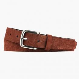 Красно-коричневый узкий ремень FOUR-IN-HAND из ворсистой кожи