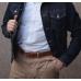 Коричневый кожаный ремень со стальной пряжкой FOUR-IN-HAND