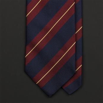 Синий в красно-жёлтую полоску шёлковый галстук FRANGI