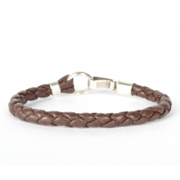 Темно-коричневый кожаный плетеный браслет 1OZ