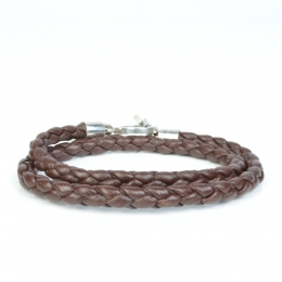 Двойной темно-коричневый кожаный плетеный браслет 1OZ