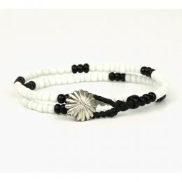 Двойной браслет из черных и белых винтажных бусин 1OZ