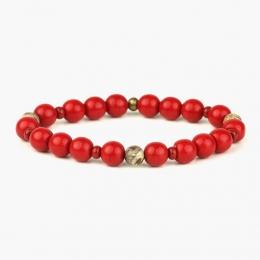 Красный браслет из бусин, агата и латуни 1OZ