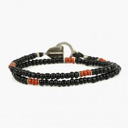 Двойной черный браслет с цветными вставками 1OZ