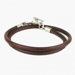 Двойной кожаный коньячно-коричневый браслет 1OZ с серебряным замком