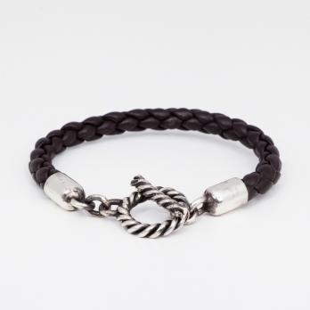 Темно-коричневый кожаный плетеный браслет с серебряным замком 1OZ