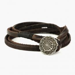 Многослойный кожаный браслет с застежкой-кончо 1OZ