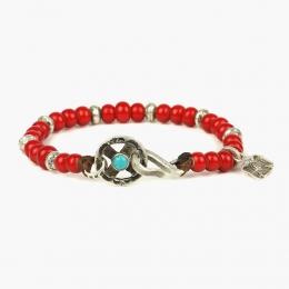 Браслет из красных антикварных бусин и серебра с бирюзовой вставкой 1OZ