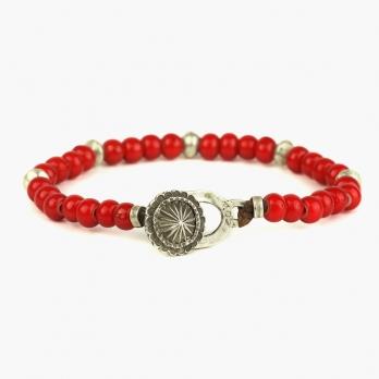 Браслет из красных антикварных бусин и серебра 1OZ