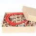 Двойной браслет из красных винтажных бусин 1OZ