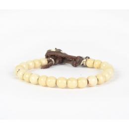 Белый браслет из крупных винтажных бусин и серебра 1OZ
