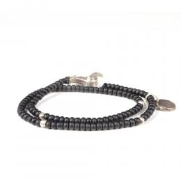 Двойной браслет из черных винтажных бусин 1OZ