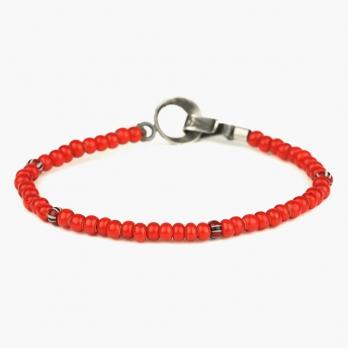 Браслет из красных винтажных бусин 1OZ с серебряным замком