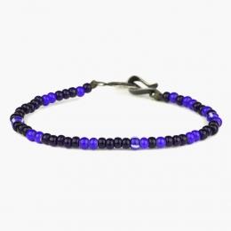 Браслет из синих и фиолетовых винтажных бусин 1OZ с серебряным замком