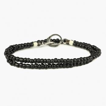Двойной браслет из черных винтажных бусин 1OZ с серебряным замком