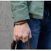 Коричневый кожаный двухцветный плетеный браслет 1OZ