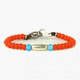 Браслет из оранжевых и синих антикварных бусин и серебра 1OZ