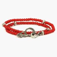 Двойной браслет из красных винтажных бусин и серебряными вставками 1OZ