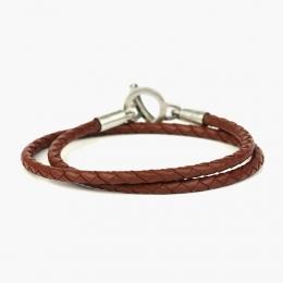 Тонкий двойной кожаный плетеный браслет 1OZ