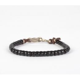 Черный браслет из винтажных бусин и серебра 1OZ