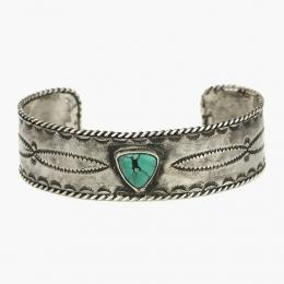Широкий серебряный браслет с бирюзой 1OZ