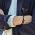 Двойной браслет из синих винтажных бусин с застежкой из рога оленя 1OZ