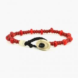 Браслет из красных стеклянных и коралловых бусин 1OZ