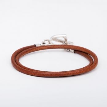 Двойной кожаный коричневый браслет с замком в виде стремени 1OZ