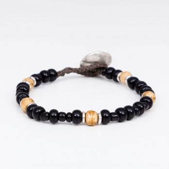 Чёрный браслет из винтажных бусин 1OZ для FOUR-IN-HAND