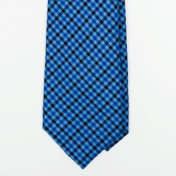 Светло-синий шерстяной галстук в клетку гингэм UMBERTO FORNARI