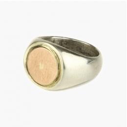 Серебряное мужское кольцо с золотой вставкой 1OZ