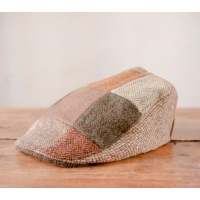 Patchwork Tweed Touring Cap by Hanna Hats