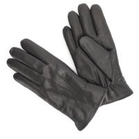 Черные перчатки из козлиной кожи на овечьем меху АКЦЕНТ