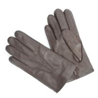 Темно-коричневые перчатки ручной работы из овчины с подкладкой АКЦЕНТ