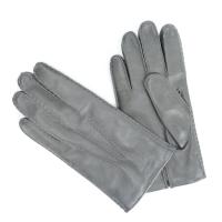 Серые перчатки ручной работы из овчины с подкладкой АКЦЕНТ