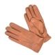 Коричневые перчатки АКЦЕНТ из оленьей кожи с застежкой на кнопке с подкладкой